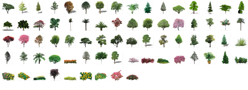 پکیج گیاهان منظرساز _ نمای مقطع ( دید کلی به پکیج )